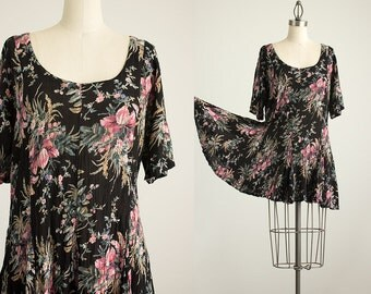 90s Vintage Black Floral Grunge Slouchy Mini Dress / Size Small / Medium