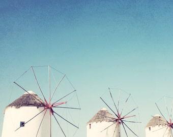 Greece photography windmill art print aqua blue white  minimalist Greek Islands architecture 'Windmills One'