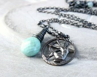 Sagittarius  Necklace Turquoise  Gemstone Jewelry Zodiac Necklace Charm Pendant Oxidized Silver February Birthstone Sagittarius Pendant