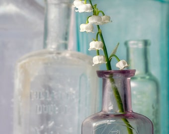Flower Photography, Floral Wall Art, White Flowers, Vintage Glass Bottles, Nature, Botanical Print, Spring Home Decor -  Lily of the Valley