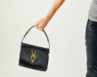Vintage Black Leather Modernist Purse