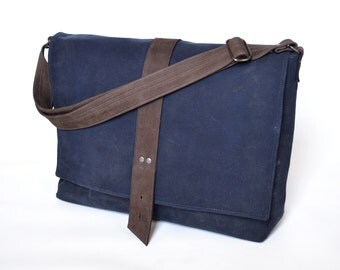 Mens Messenger Bag for Work, Student Messenger Bag, Crossbody Waxed Canvas Laptop Bag, Messenger for College - The Sloane Bag in Navy Blue
