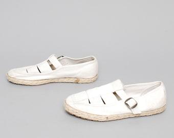size 6.5 ESPADRILLE white linen 70s 80s CUTOUT buckle sandals
