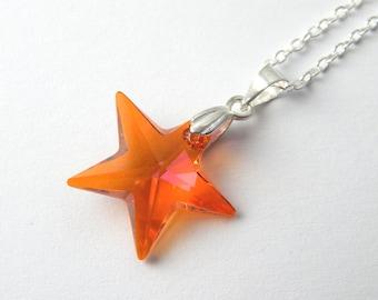 Orange Pink Swarovski Star Necklace - Astral Pink Crystal Star Necklace - Swarovski Elements - Orange Pink Crystal Star - Star Pendant
