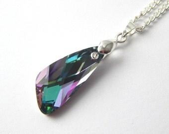 Purple Green Swarovski Wing Necklace - Vitrail Light Crystal - Swarovski Elements - Violet Angel Crystal Necklace - Silver Bird Wing Pendant