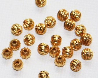 100 pcs gold plated round Corrugated beads 4mm, gold spacer beads, gold loose beads