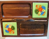 1970s Wood and Tile Cheese Board with Two Cheese Knives