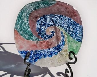 Fused Glass Bowl, Crazy Bubbles