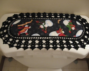 Aunt Roo's MINI Let it Snow Snowmen (reverse Texas Lone Star State) fabric runner w/ crocheted edging for toilet tank