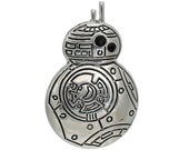 BB-8 Droid, Star Wars Inspired, Force Awakens Inspired, Silver Tone Pendant, 38mm, 1 Piece, 5PE92-0001