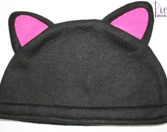 Black Cat Hat / Fleece Hat / Winter Hat / Fleece Cat Hat