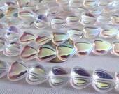 50 Crystal AB Czech Glass Heart Beads 10mm