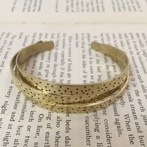 Raw Brass Adjustable Spotty Cuff - Bangle - Stacker - Stacking - Gold - Festival - Gypsy - Frida Kahlo - Boho