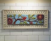 Tile Wall Art Mosaic Art Wall Art Bird on Branch Colorful Pottery Semiprecious Stones Flowers Gardener Gift Horizontal Art