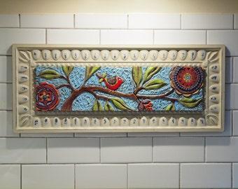 Tile Wall Art READY to SHIP Mosaic Art Wall Art Bird on Branch Colorful Pottery Semiprecious Stones Flowers Gardener Gift Horizontal Art