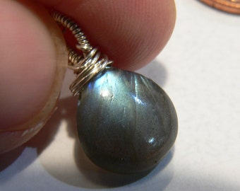Labradorite, Labradorite Pendant, Sterling Silver, Wire Wrapped, Labradorite Necklace, Smooth