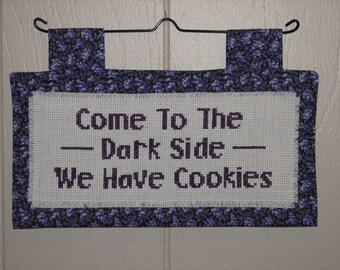 Come To The Dark Side We Have Cookies counted cross stitch wall hanging mini quilt FREE SHIPPING