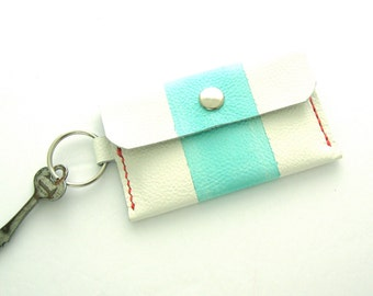 Key Ring Wallet, Preppy Wallet, Hand Painted Leather, Small Leather Wallet, Credit Card Holder, Wallet on a Key Ring, Preppy Accessory