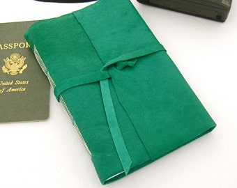 Large Green Leather Journal Leather Sketchbook Hand Sewn Book Leather Travel Diary Gift for Artists Gift for Writers 3rd Anniversary Gift