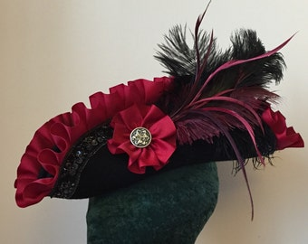 Black Crimson Red Pirate Hat  Unique Gothic Romantic Tricorn Custom Order or Gift Certificate