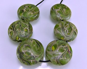 Green Silver Lampwork Beads Etched Glass Beads SRA