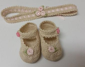 Baby Girl Booties and Headband, Crochet Mary Jane,  Newborn Baby Girl Booties, Pink Rose Flowers Christening, Baptism, Baby Shower Gift