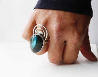 Ripple Effect Ring - Sterling Silver and Labradorite Stone Statement Ring