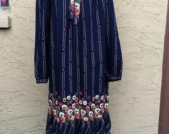 Vintage Robbie Bee Muu Muu 70s Hipster Floral Navy Blue Maxi Dress Sz 6