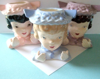 Vintage 1950's Ceramic Lady Head Vases and Place Card Holders Set of 6