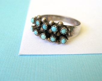 Zuni Sterling Silver and Petit Point Turquoise Ring Size 6.75