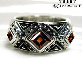 Mens Wedding Ring Gothic Garnet Stone Medieval Silver Band 3 Kings Size 13