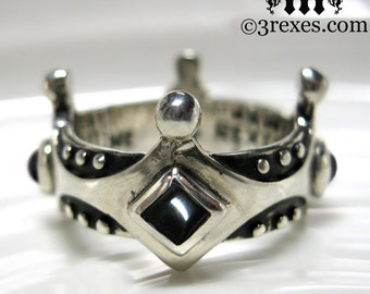 Silver Crown Engagement Ring Brandy Wine Gothic Medieval Band Black Onyx Stone Size 8