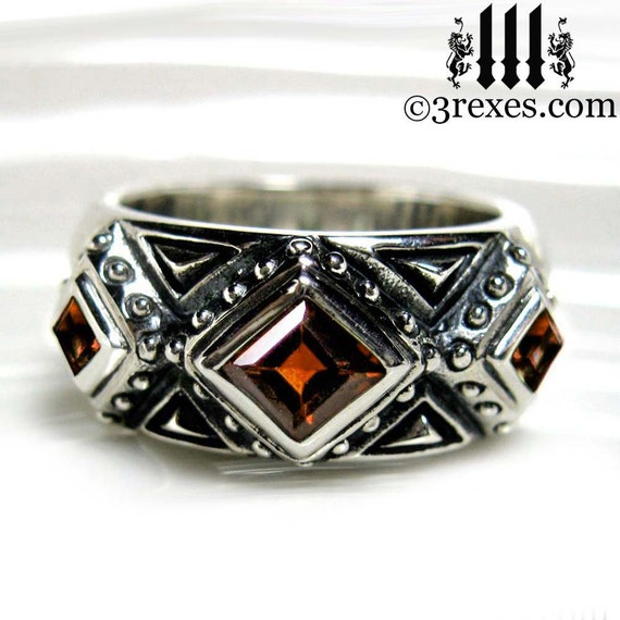 mens wedding ring gothic garnet stone medieval silver band 3. Black Bedroom Furniture Sets. Home Design Ideas