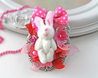 Gothic lolita bunny plush in flowers  necklace Kawaii pink bow cute pink white red