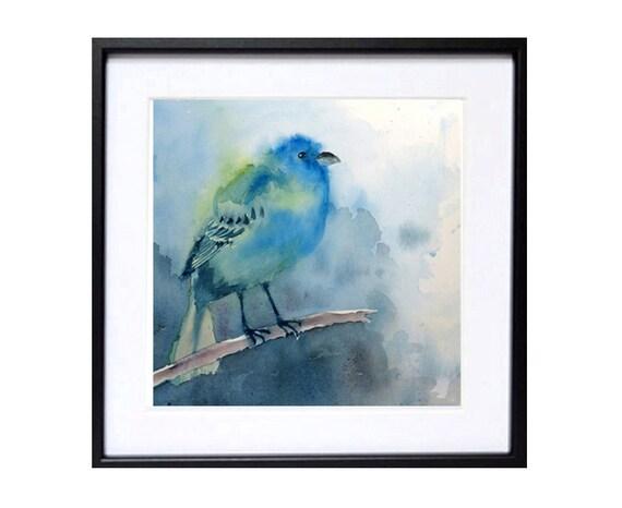5. Bird art prints bird watercolour Pint, Indigo Bunting Turquoise bird art prints Wildlife painting Blue painting 10 x 10