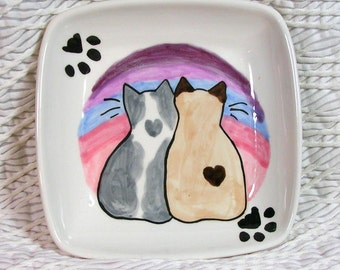 Love Cats With Hearts On Square Ceramic Dish / Bowl by Gracie