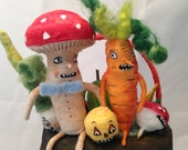 Halloween Veggies in black lantern Spun Cotton by Maria Paula folk art Halloween decoration
