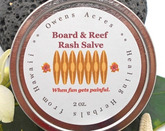 Rash Salve, Board and Reef - Salve, Balm, Ointment, Beach, Outdoor Sports, Vacation, Surfing, Reef, Snorkeling, Diving, Scuba, Skate Board