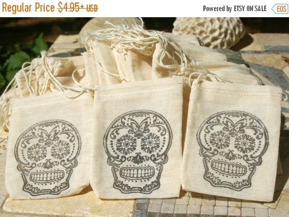 Wedding Gift Bags For Sale : SALE.... Favor Bags -Sugar Skull, Wedding, Muslin Bag, Favor Bag ...