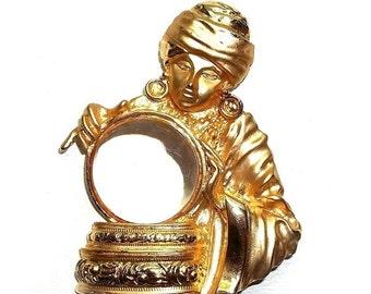 Fortune Teller JJ pin brooch vintage Jonette jewelry gold tone Gypsy