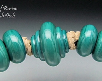 Handmade BHB Glass Beads Leah Deeb - 5pc Shiny Teal Green Big Hole Baroque