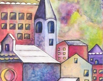 Old World Village Roof Tops & Houses Original Mixed Media Art 12 x 16 Canvas Original Acrylic Painting by Charlotte Littlejohn