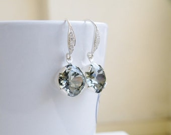 Clearance SALE Swarovski Earrings Black Diamond Grey Gray Cushion Earrings Crystal Foiled