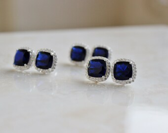 Cushion Blue Sapphire CZ Halo Rhinestone Silver Stud Post Earrings IEC1PPB