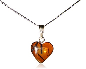 Baltic Amber Heart Necklace -Sterling Silver Chain - LARGE HEART