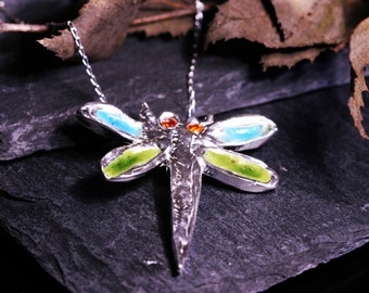 Exquisite Silver Dragonfly Necklace - Solid Silver And Enamelled - NEW FOR XMAS 2015
