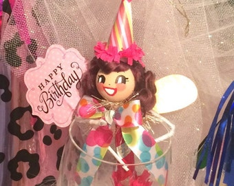 Happy Birthday pixie ornament party decor brunette fairy party blower party favor keepsake birthday doll vintage retro inspired pink green