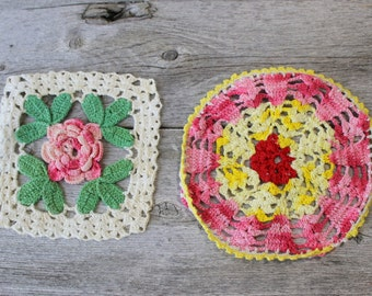 Two Kitsch Crochet Doilies, Doillies,  Round, Pink, Square Vintage Doily, Hand Crocheted, Flower doily, two doillies, doilies