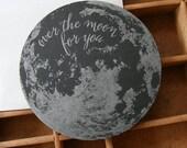 letterpress moon die cut card