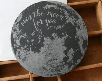 letterpress moon die cut card